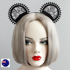 Women Girl Black Mickey Mouse Round Ear Lace Costume Party Hair headband Prop