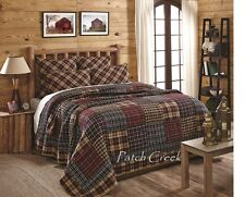 AUSTIN King Quilt Red/Tan/Black Rustic Primitive Patchwork Madras Plaid Cabin