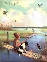 Mongrel Mutt Dog Fishing With Boy lake Scene Wesley Dennis Book plate print