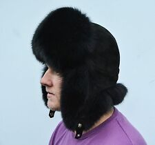 Saga Furs Jet Black Fox Fur, Black Suede Leather Men's Aviator Furry Hat
