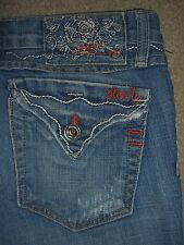 PLASTIC BY GLY Boot Flap Pkts Stretch Destroyed Denim Jeans Womens Size 0 x 31.5