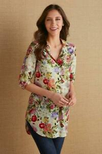 Soft Surroundings Top Size PXS Women's Floral Printed Botanica Tunic Popover NEW