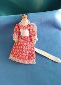 Antique Folk Art Peg Doll Penny Doll Miniature in Red Dress with Lavender insert