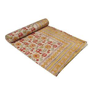 Blanket Gudari Kantha Bedspread Hand Block Print 100% Cotton Ralli Bed Cover