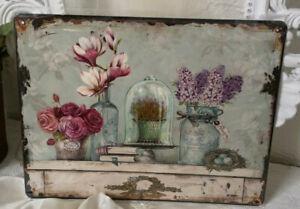 Plaque en Tôle Tableau Mural Roses Dome Vintage Shabby Landhaus 33cm