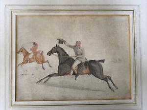 Antique Samuel Alken Georgian Sporting Watercolour Painting