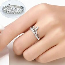 Jewelry White Gold Plated Adjustable Ring Crown Shaped Mosaic Crystal