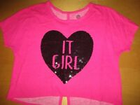 Total Girl Bright Pink OVerlay Awesome Shirt girls sz L 14 1/2 - 16 1/2 Plus