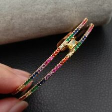 Rainbow cz cuff bangle bracelet for women multi piece cz band bangles