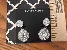 New Tahari Clip on Earrings Sparkle Teardrop large drag queen rhinestone Holiday