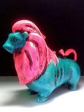 Unique Figural Coin Bank Lion Pottery Animal Turquoise Pink Ceramic Art Vintage