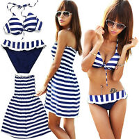 SEXY HOT 3 teilig 3 in 1 Bügel-Bikini Bademode Blau/Weiß STRAND Kleid B04
