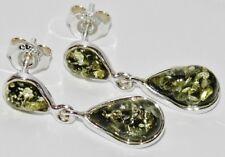 GREEN AMBER STERLING SILVER (925) LADIES PEAR DROP DROPPER STUD EARRINGS