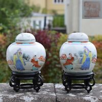 A pair of Antique Chinese Porcelain Tea Jars Late Qing / Early Republic