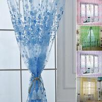 Pastoral Floral Flower Voile Window Curtain Balcony Valances Drape Panel Sheer