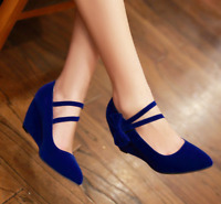 Hot Womens Bow Tie Pointy Toe Ankle Strap Pumps Wedge Heel Mary Jane Shoes N216