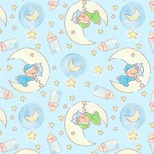 Fabric Baby Sleepy Bear Dreams Moons Blue White on Blue Flannel 1 Yard