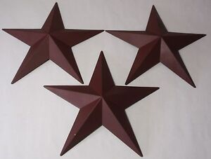 "Hearthside Collection 12"" Burgundy Metal Accent Stars Set of 3 NEW Primitive"