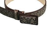 "Cinto Ranchero Belt Leather Laser Cut Handcrafted Changeable Buckle 2"" Wide"