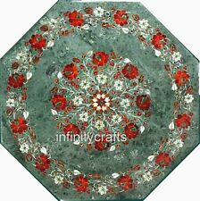 27 Inches Green Marble Inlay Table Top with Gemstones Work Royal Coffee Table