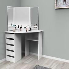 Eckschminktisch Weiß Kosmetik Tisch mit Fach Eck-Spiegel Kommode Frisierkommode