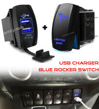 LIGHTED WHIP Blue LED Toggle Rocker Laser Switch 5PIN ON-OFF + Dual USB Charger