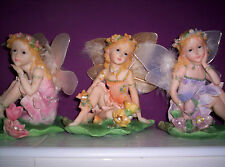 EXQUISITE GIANT FAIRY ANGEL ORNAMENT PINK ORANGE PURPLE FLOWER LILYPAD BNIB NEW