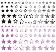 Nail Art Stickers Water Decals Transfers Black Pink Stars (M+402)