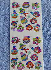 Sandylion MINI CLOWN FACES Strip of 2 Sqrs Vintage Stickers RETIRED SUPER RARE