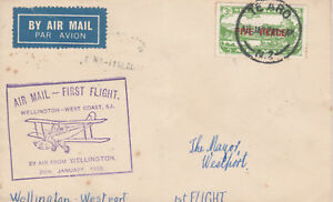 New Zealand 48 - 1932 FIRST FLIGHT COVER WELLINGTON to WESTPORT