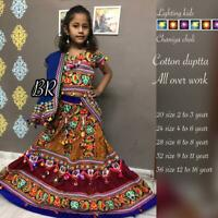 Kids cotton lighting chaniya choli cotton dupatta all over work