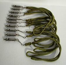 10 pieces ANTIQUE Old Indian Police & Fire BRASS Whistle with ROPE - EXCELLENT