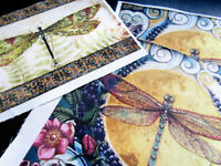 Cotton Fabric  Panel Vintage Dragonfly ready Fabric Panel Quilting fabric DIY
