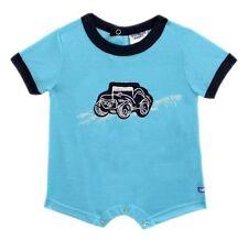 Oshkosh B'gosh Aqua Blue Car Applique Romper Infant/Baby Boy Clothes, Newborn