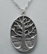 Life (30mm x 23mm) Silver Tone Chain Necklace #355 Pewter Tree of