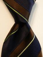 ERMENEGILDO ZEGNA Men's Silk/Cotton Necktie ITALY Luxury STRIPED Blue/Brown EUC