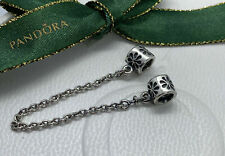 Genuine PANDORA Sterling Silver FLORAL FLOWER SAFETY CHAIN Charm 790385 S925 ALE