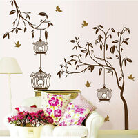 Tree Birds Birdcage Removable Vinyl Decal Art Wall Sticker Mural DIY Room Decor