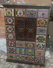 Wooden hand carved cabinet multi color ceramic tiles bedside cupboard furniture