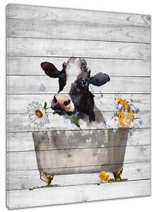 Fun Bathtub Cow Daisy Flower Painting Canvas Wall Decor For Living Room Bedroom