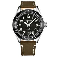 Stuhrling Men's Quartz Black Dial Luminous Hands Markers Brown Leather Watch