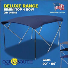 "BIMINI TOP 4 Bow Boat Cover Blue 90"" - 96"" Wide 8ft Long With Rear Poles"