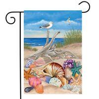 """Ocean Breeze Summer Garden Flag Natuical Seashells Driftwood 12.5"""" x 18"""""""