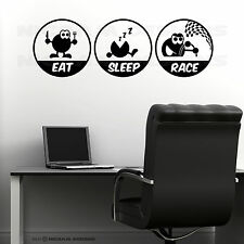 Eat Sleep Race Funny Wall Art Vinyl Racing Cars Office Decal Bedroom Sticker