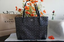 NWT COACH F29958 Signature Jacquard Zip Tote Bag Purse Silver Black Smoke $250