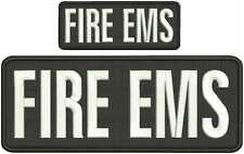 Fire Ems embroidery patch 4x10 and 2x5 hook on back black