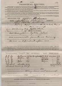 1913 Application to Work as Rodman at Southern Pacific Railroad Ogden Utah