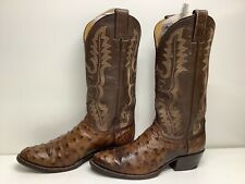 #W9 Vtg Mens Justin Cowboy Ostrich Skin Brown Boots Size 7.5 D