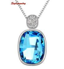 18k White Gold Filled Ocean Blue Made With Swarovski Crystal Necklace N194