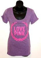 NEW VICTORIA'S SECRET LOVE PINK Bling SEQUIN Sequence T- Shirt Top Tee Crest HOT